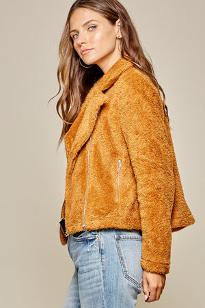 Side view of Orange Fluffy Zip Up Teddy Coat