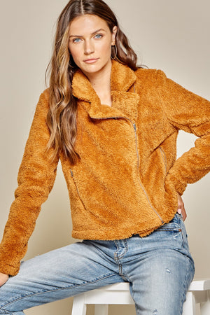 Zipped Up Orange Fluffy Teddy Coat with Collar