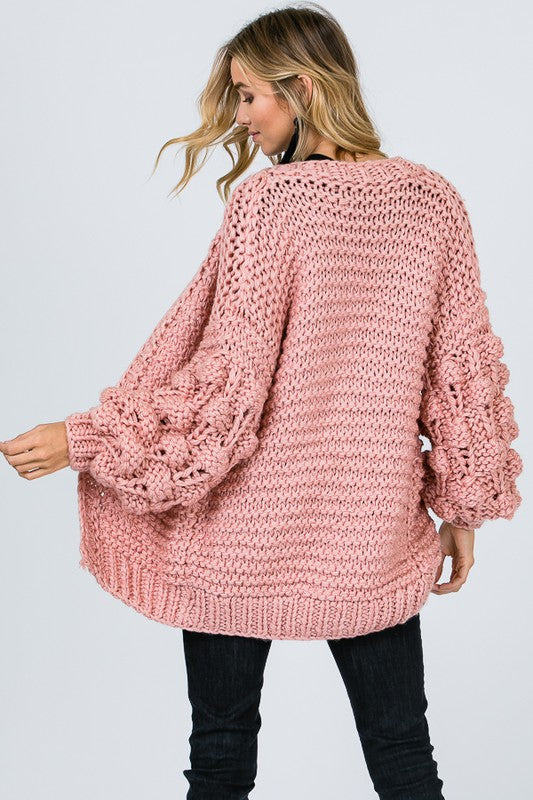 Bubbly in Pink Textured Cardigan
