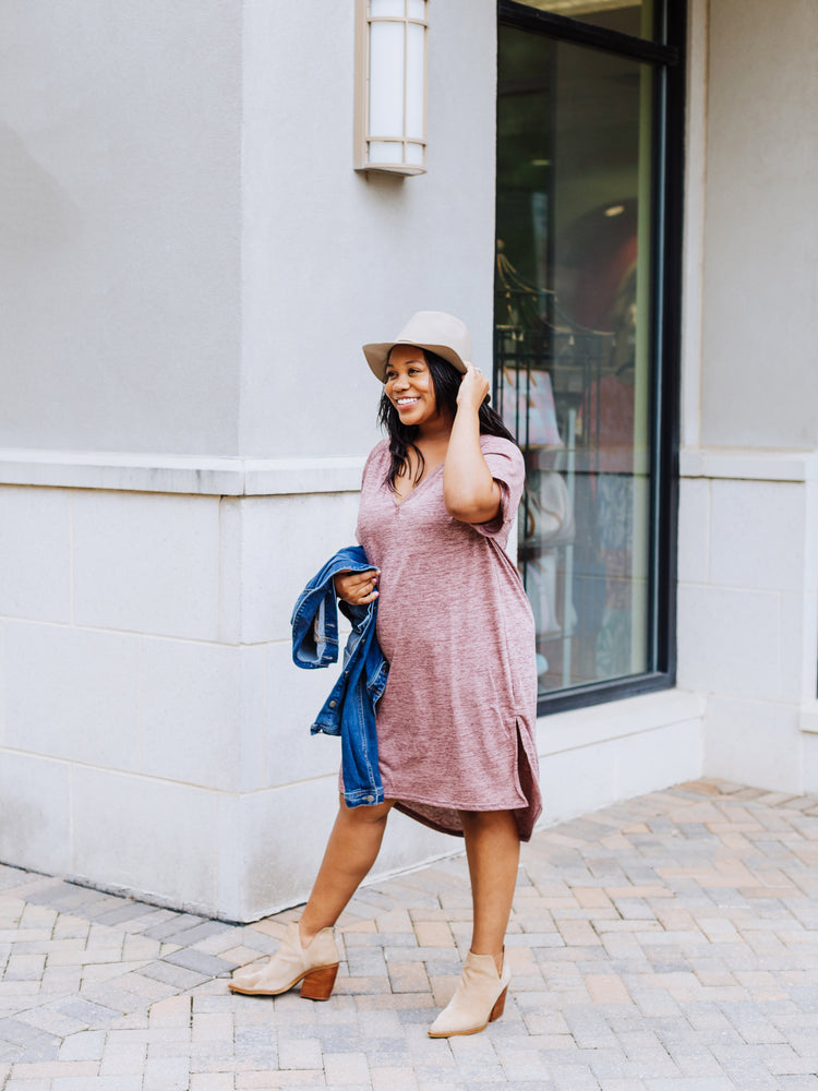 Pretty in the Plum T-Shirt Dress