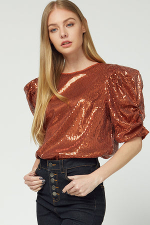 Sparkling Into Rust Puff Sleeve Top