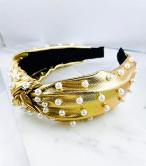 Gold Metallic Headband With Pearl Accents