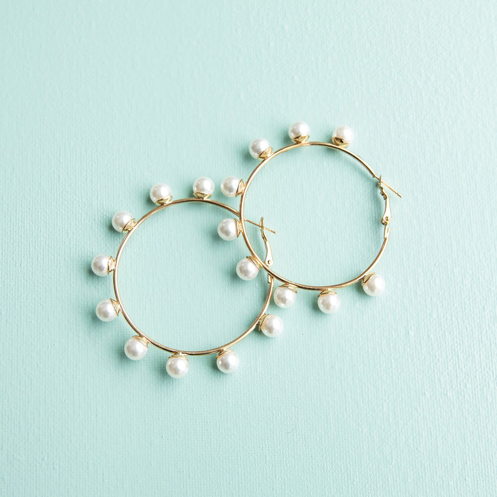 Juliana Earrings-Pearl and Gold