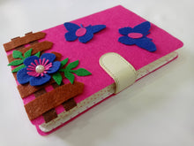 Load image into Gallery viewer, Felt flower notebook, Handmade Journal, floral journal, original sketchbook, notepad