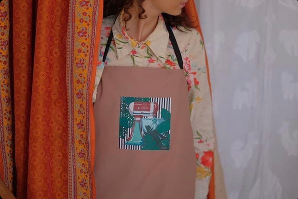 Apron with an original art by Zenka, Champaign Pink