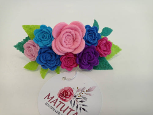 Hair Barrette with felt flowers