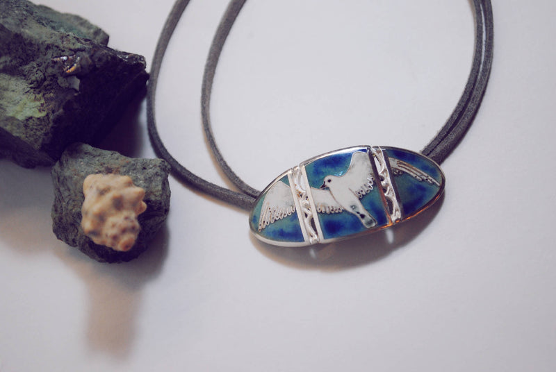 Seagull Necklace, Birds Jewelry, cloisonné enamel , Silver