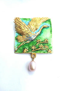 Enamel necklace. Silver necklace. Flying heron pendant. Authors work. Handmade jewelry. Handmade accessories.