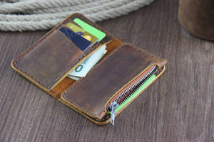 Minimalist Leather Vertical Wallet with Zipper