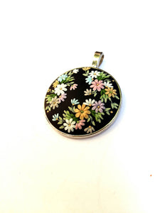 Colorful Necklace. Flowers pendant. Floral necklace. Polymer Clay jewelry. Handmade accessories.