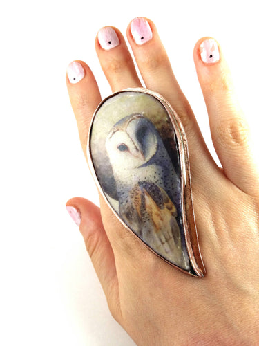 Ceramic ring. Statement ring. Owl ring. Handmade jewelry. Handmade accessories.