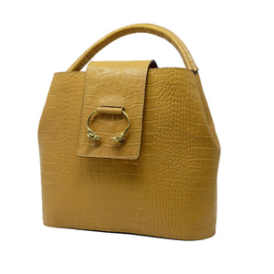 Handmade Natural Leather Handbag, Mustard