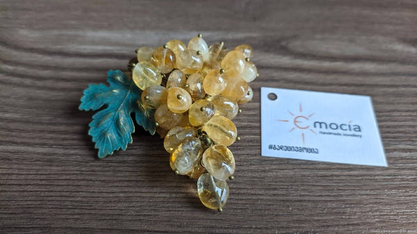 "Handmade citrine brooch ""Kisi grape"" - PREMIUM"