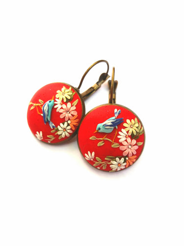 Floral earrings. Birds earrings. Red earrings. Polymer Clay jewelry. Handmade accessories.