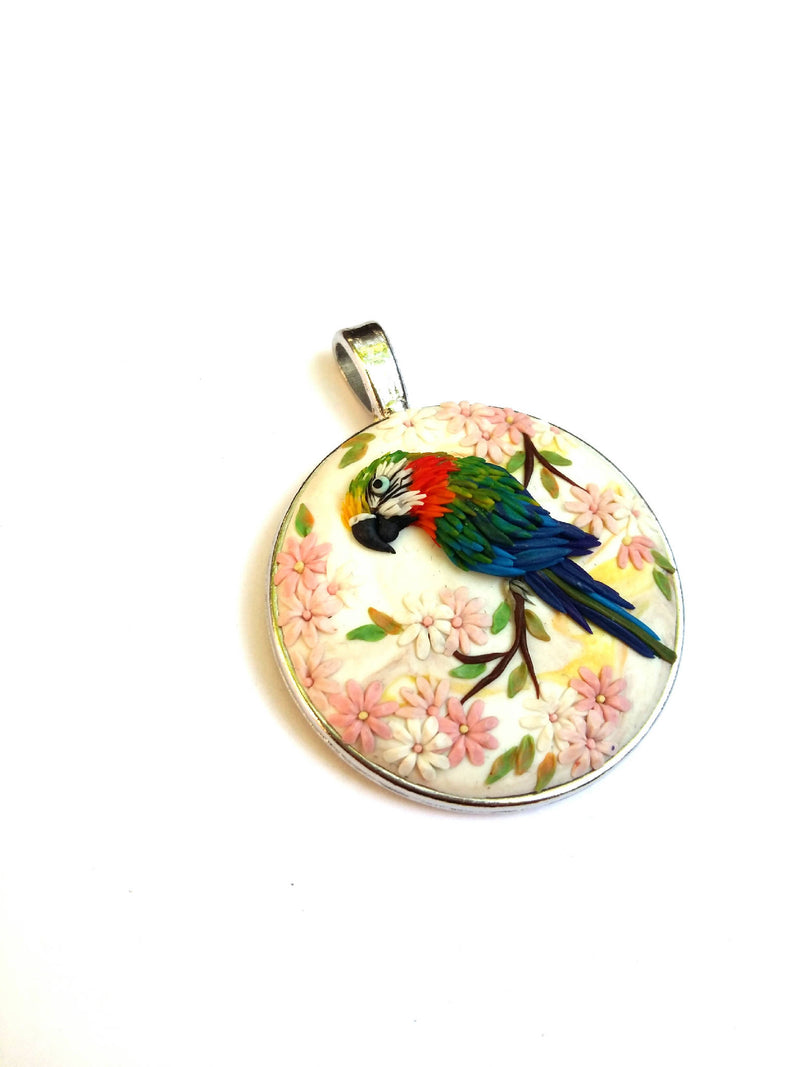 Colorful Necklace. Birds Necklace. floral pendant. Polymer Clay jewelry. Handmade accessories.