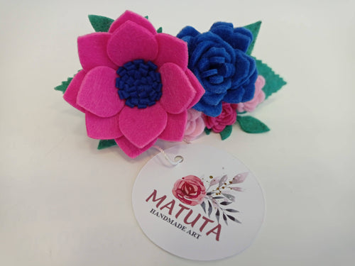 Handmade Hair Barrette with felt flowers
