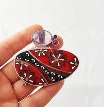 Load image into Gallery viewer, Amethyst necklace Bohemian jewelry, Cloisonne Enamel, Christmas Gift