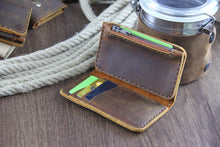 Load image into Gallery viewer, Minimalist Leather Vertical Wallet with Zipper