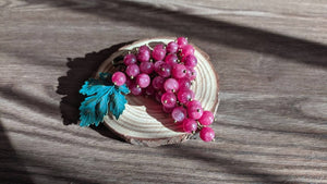 "Handmade Quartz brooch "" Pink Rkatsiteli grape"""