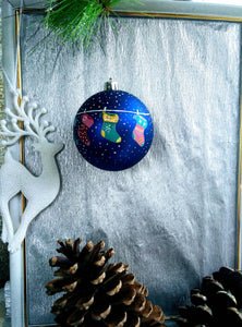 Hand painted Christmas ornament in blue and white, Christmas tree decoration.