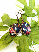 Load image into Gallery viewer, Floral earrings. Birds earrings. Colorful Earrings. Polymer Clay jewelry. Handmade accessories.