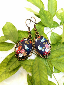 Floral earrings. Birds earrings. Colorful Earrings. Polymer Clay jewelry. Handmade accessories.