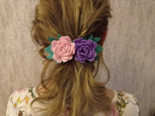 Load image into Gallery viewer, Felt floral hair barrette, handmade Hair clip, French barrette,