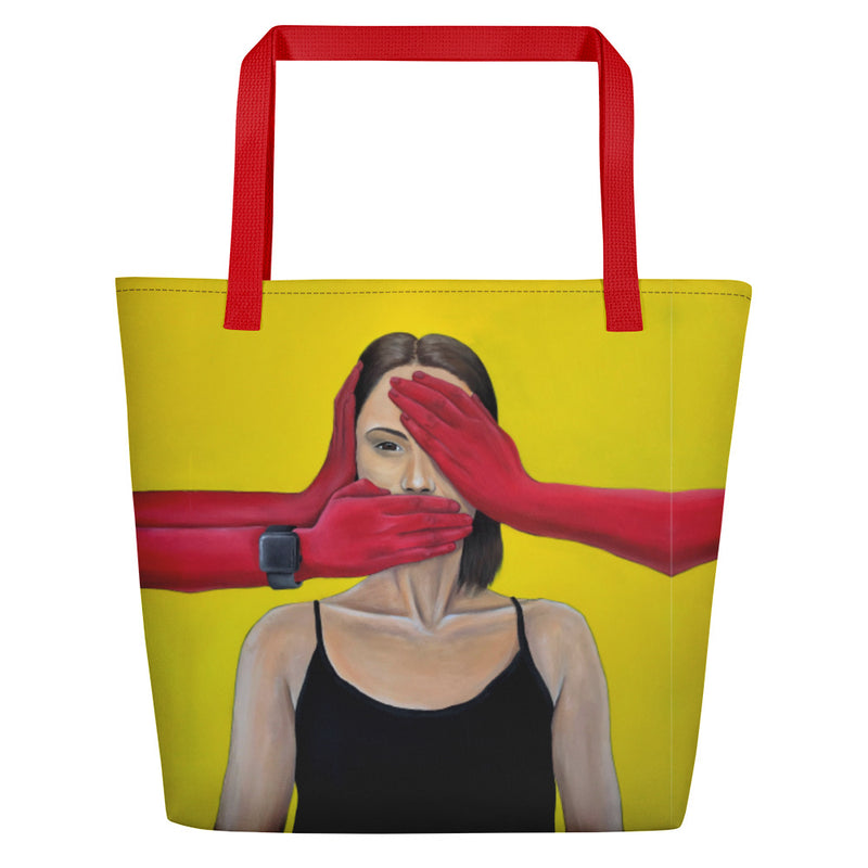 Beach Bag with Musya's Art, Cover your Mouth