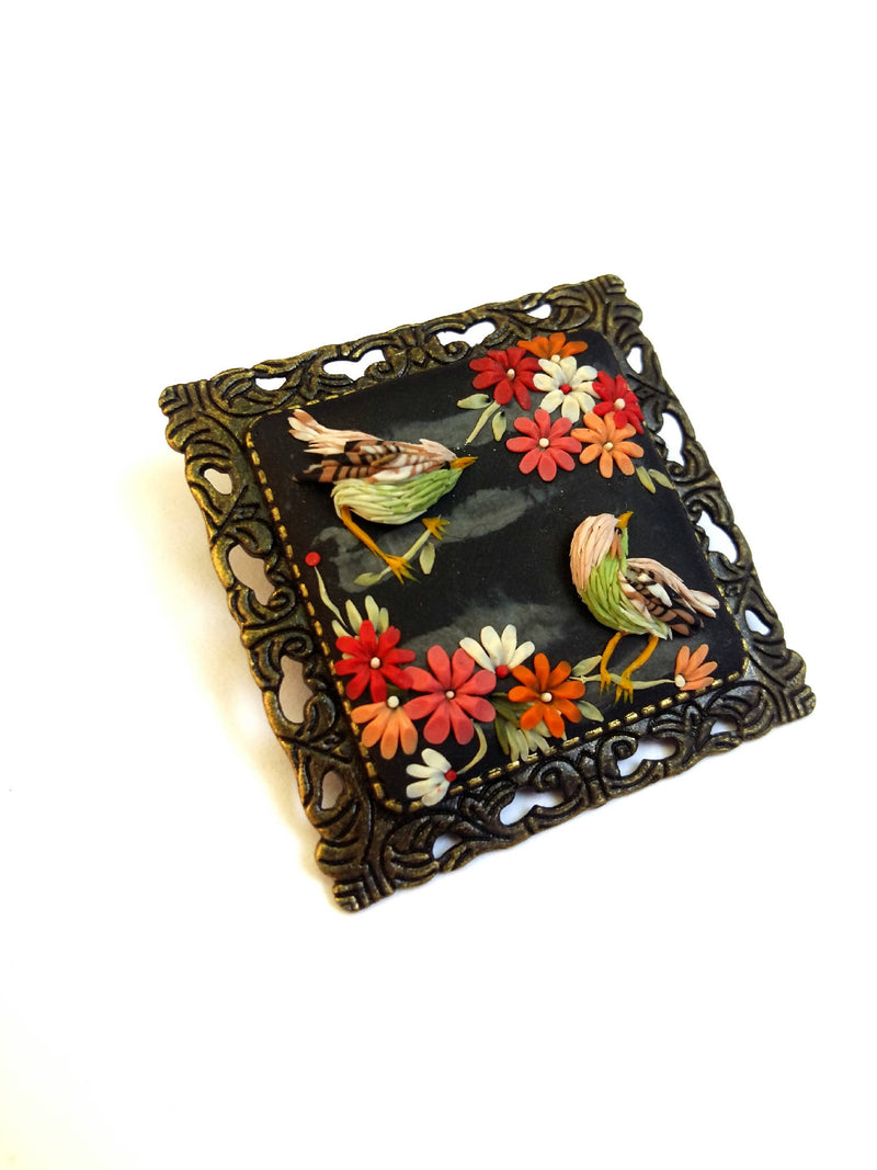 Colorful brooch. Floral brooch. Polymer Clay jewelry. Handmade accessories.