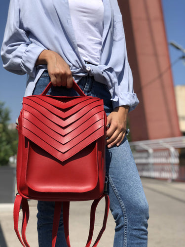 Red Vegan Leather Backpack