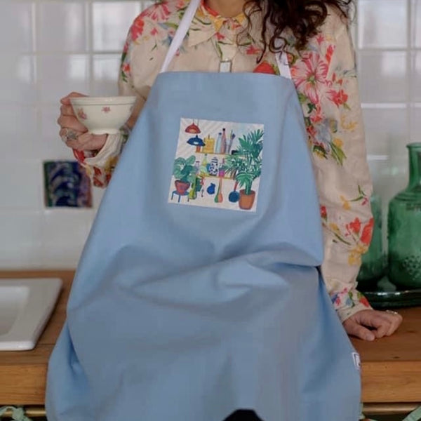 Apron with an original art by Zenka, Blue