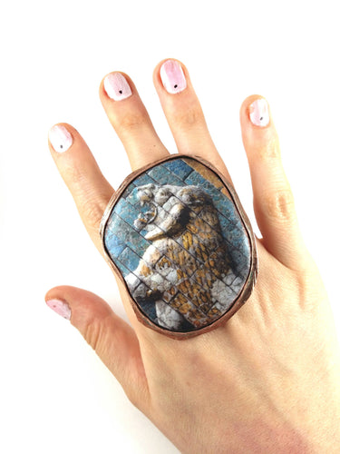 Ceramic ring. Statement ring. Lion ring. Handmade jewelry. Handmade accessories.