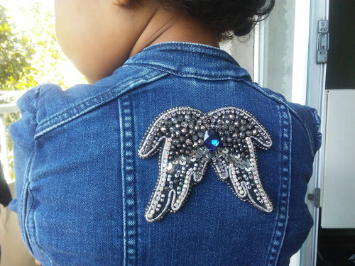 Beaded denim Jacket brooch Angel wings, Hand Embroidered shawl, coat pin ,Unique Christmas gift