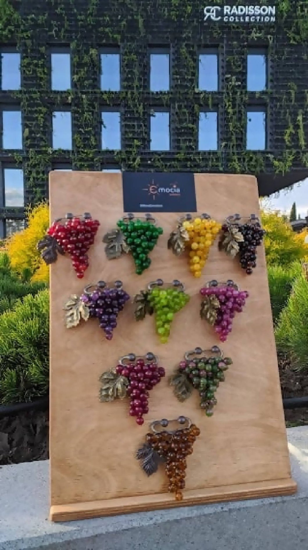 Handmade Georgian grape brooches (whole board with 10 brooches)
