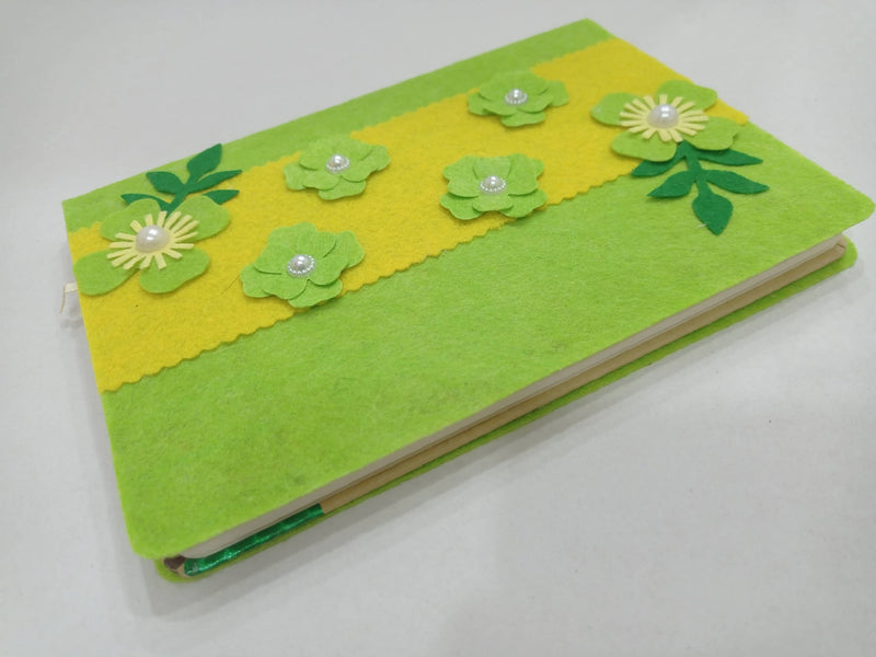 Felt flower notebook, flower felt cover, Handmade Journal, floral journal, original sketchbook, notepad