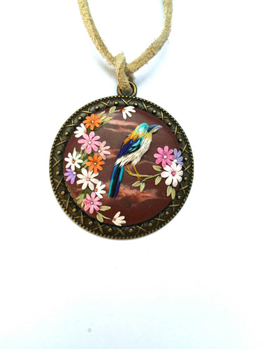 Floral necklace. Birds pendant. Colorful Necklace. Polymer clay jewelry. Handmade accessories.
