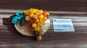 Handmade grape brooch - Sunny Rkatsiteli - PREMIUM
