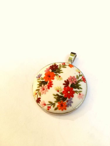 Flowers Necklace. Floral pendant. Colorful Necklace. Polymer Clay jewelry. Handmade accessories.