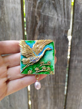 Load image into Gallery viewer, Enamel necklace. Silver necklace. Flying heron pendant. Authors work. Handmade jewelry. Handmade accessories.