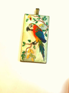 Parrot necklace. Birds sculpture. Birds pendant. polymer clay jewelry. Handmade accessories.