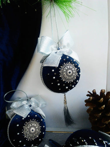 First Christmas ornaments, Embroidered tree bubbles in Navy blue and sterling silver, Holyday decorations