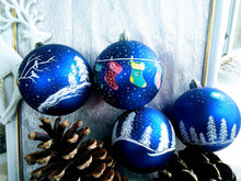 Load image into Gallery viewer, Hand painted Christmas ornament in blue and white, Christmas tree decoration.