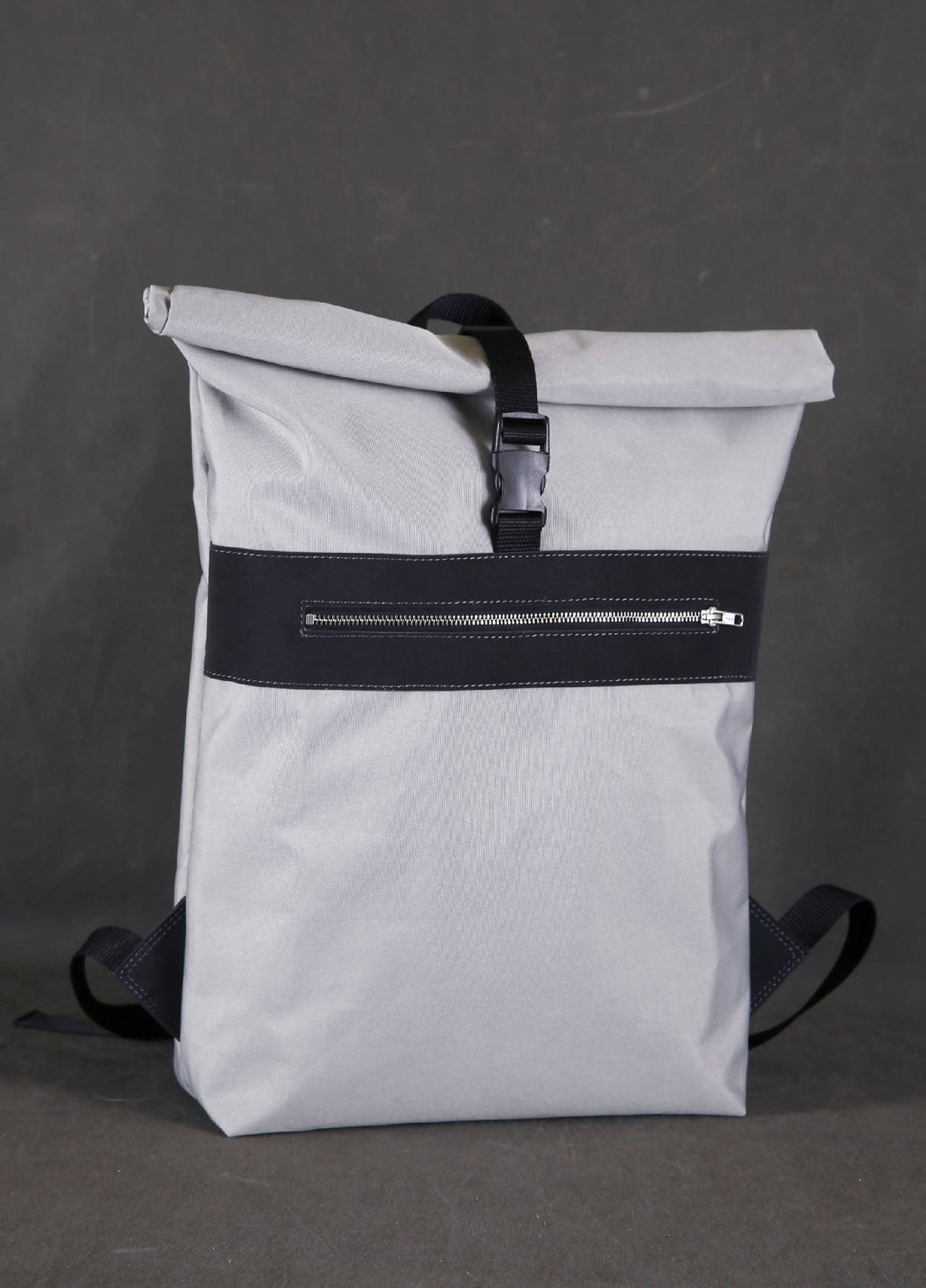 Light grey waterproof backpack, vegan leather backpack