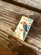 Load image into Gallery viewer, Parrot necklace. Birds sculpture. Birds pendant. polymer clay jewelry. Handmade accessories.
