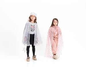 FAIRY TALE CAPE with Crown & MAGIC WAND, silver