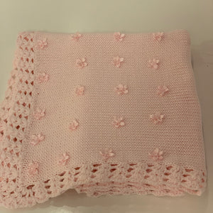 Gita Pink Cotton Blanket with Rosebuds