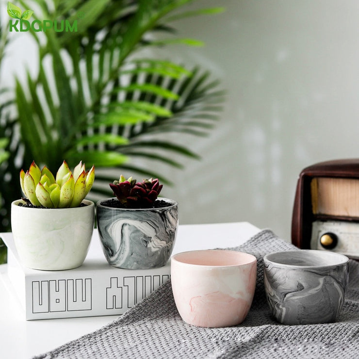 Ceramic Marble Flower Pot - Luxelabeled
