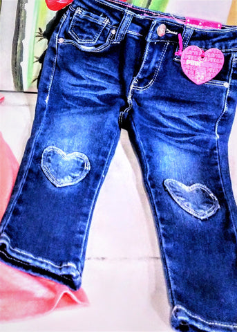 Jeans with Heart Patches on Knees