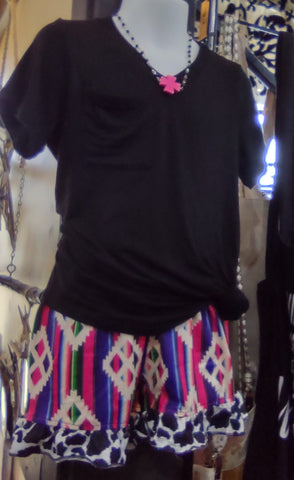 Aztec Shorts With Black & White Cow Ruffle At Hem