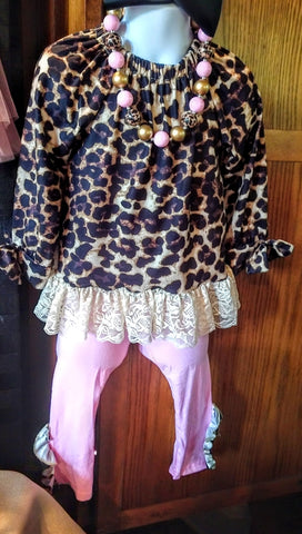 Cheetah & Pink Pant Set with Lace Trim